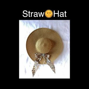 Accessories - Straw Sun Hat With Leopard Print Bow